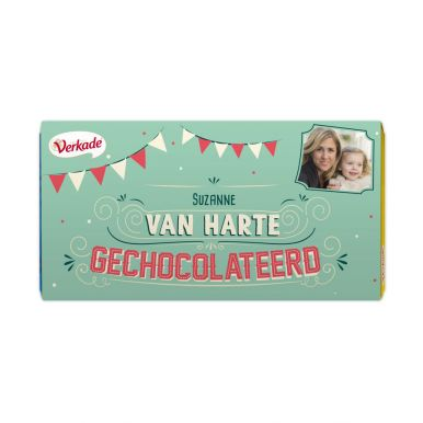 Verkade chocoladereep bedrukken - Van harte (Puur)