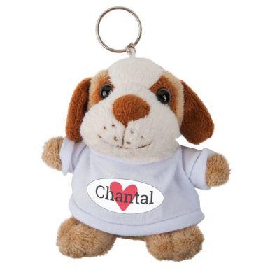 Sleutelhanger hond met bedrukt T-shirt