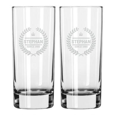 Longdrinkglas graveren - 2 stuks