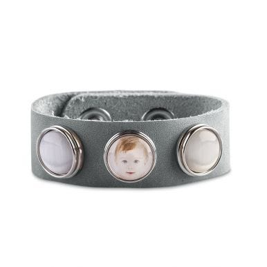 Clicks armband - Grijs - 3 foto's - 24,5 cm