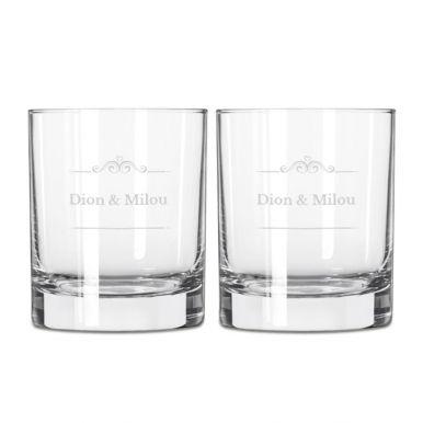 Whiskey glas graveren - 2 stuks