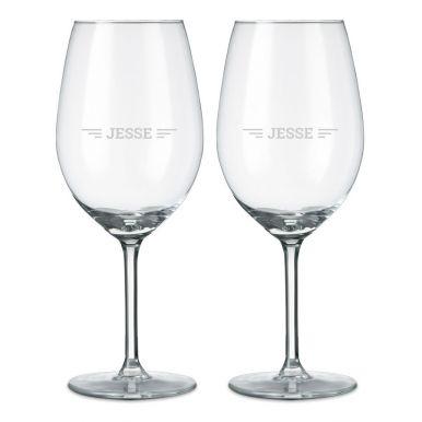 Rood wijnglas graveren - 2 stuks