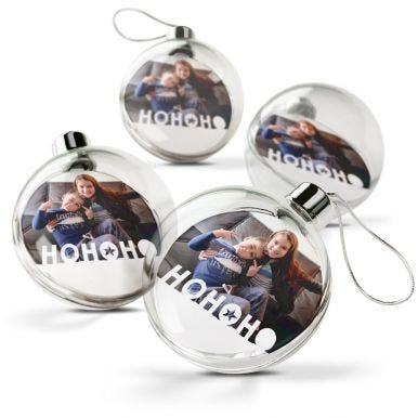 Transparante kerstbal bedrukken (4 stuks)