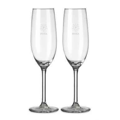Champagneglas graveren - 2 stuks