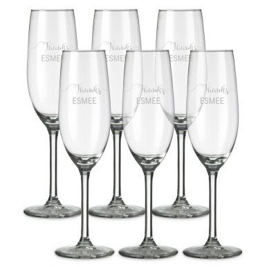 Champagneglas graveren - 6 stuks