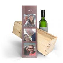 Wijn in bedrukte kist - Belvy - Wit