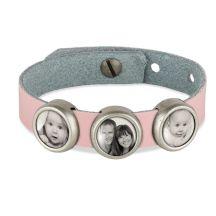 Slider armband met foto - Roze - 3 foto's