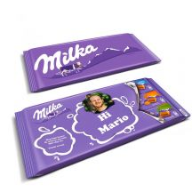 Mega Milka reep met naam en foto bedrukken
