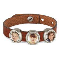 Slider armband met foto - Bruin - 3 foto's