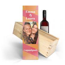 Wijn in bedrukte kist - Belvy - Rood