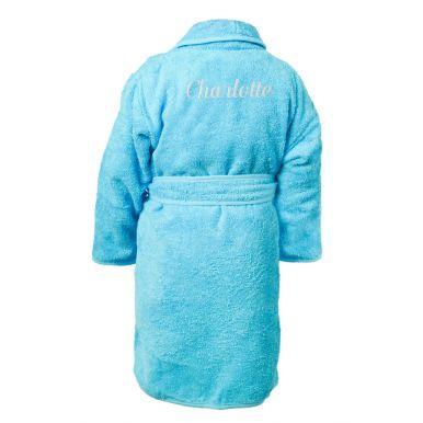 Kinderbadjas borduren - Aqua - 110/116