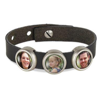 Slider armband met foto - Zwart - 3 foto's