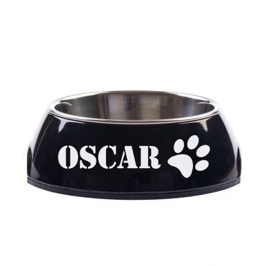 Hondenvoerbak met naam - Zwart - 350 ml
