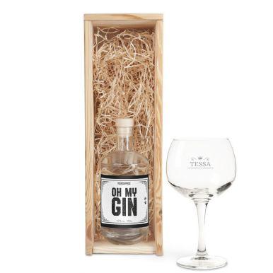YourSurprise ginpakket met gegraveerd glas